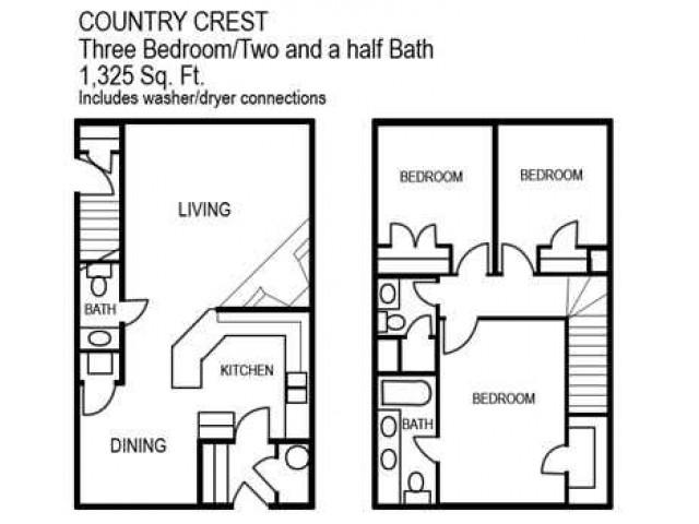 Three Bedroom / Two and a Half Bathroom, 1325 sqft home