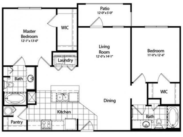 Two Bedroom | Two Bathroom | Deluxe | 1067 sqft