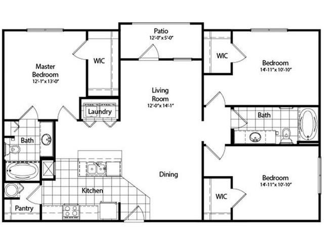 Three Bedroom / Two Bathroom | Deluxe with Sunroom | 1350 sqft