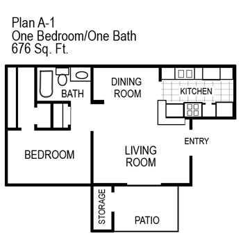 One Bedroom   676 sqft