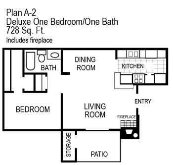 One Bedroom   728 sqft