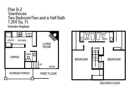 Two Bedroom Townhome   1204 sqft