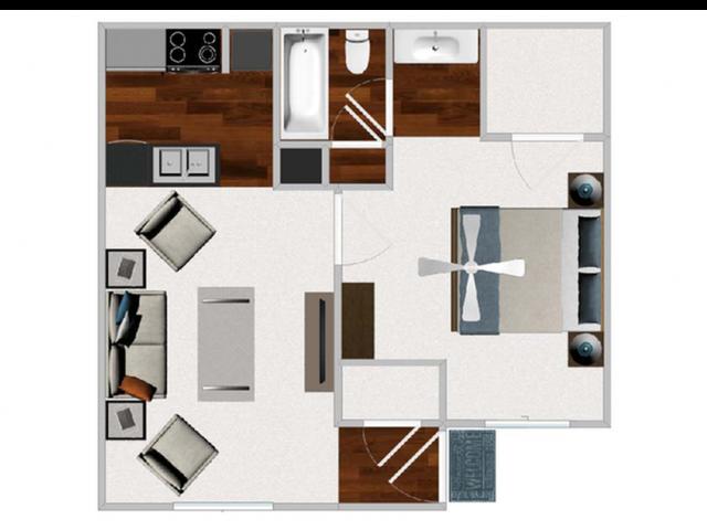 One Bedroom / One Bathroom, 601 sqft