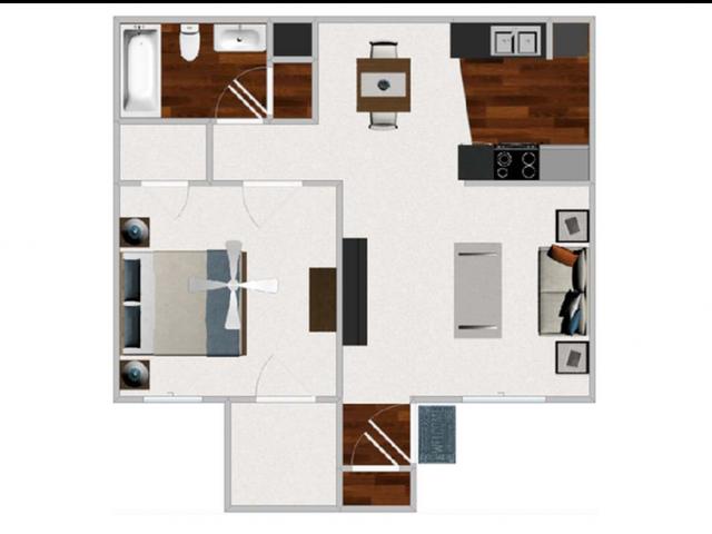 One Bedroom / One Bathroom 644 sqft