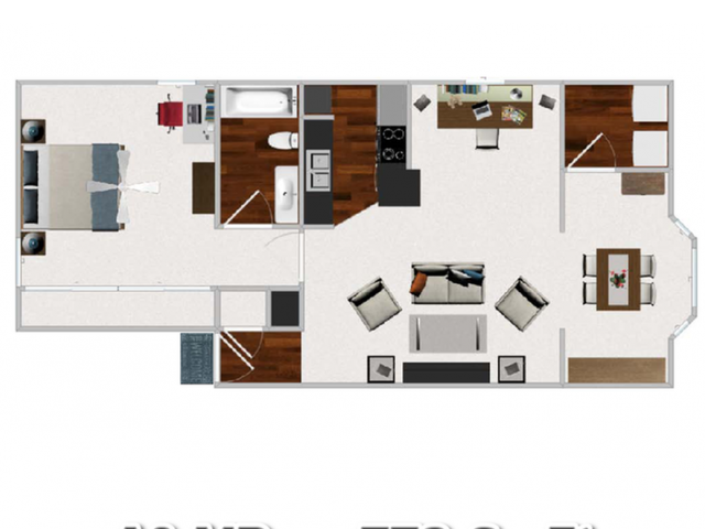 Large One Bedroom / One Bathroom with Morning Room, 772 sqft home