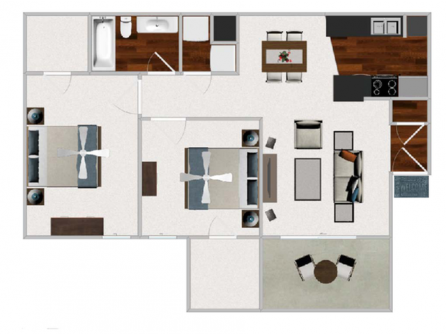 Two Bedroom / One Bathroom, 845 sqft. Washer/Dryer is located in bedroom in selected units.