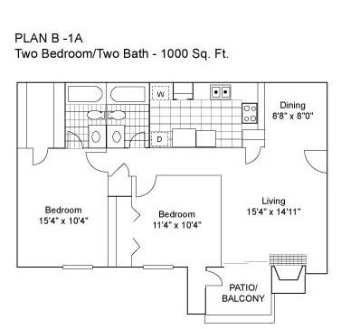 Two Bedroom | Two Bathroom | 1000 sqft
