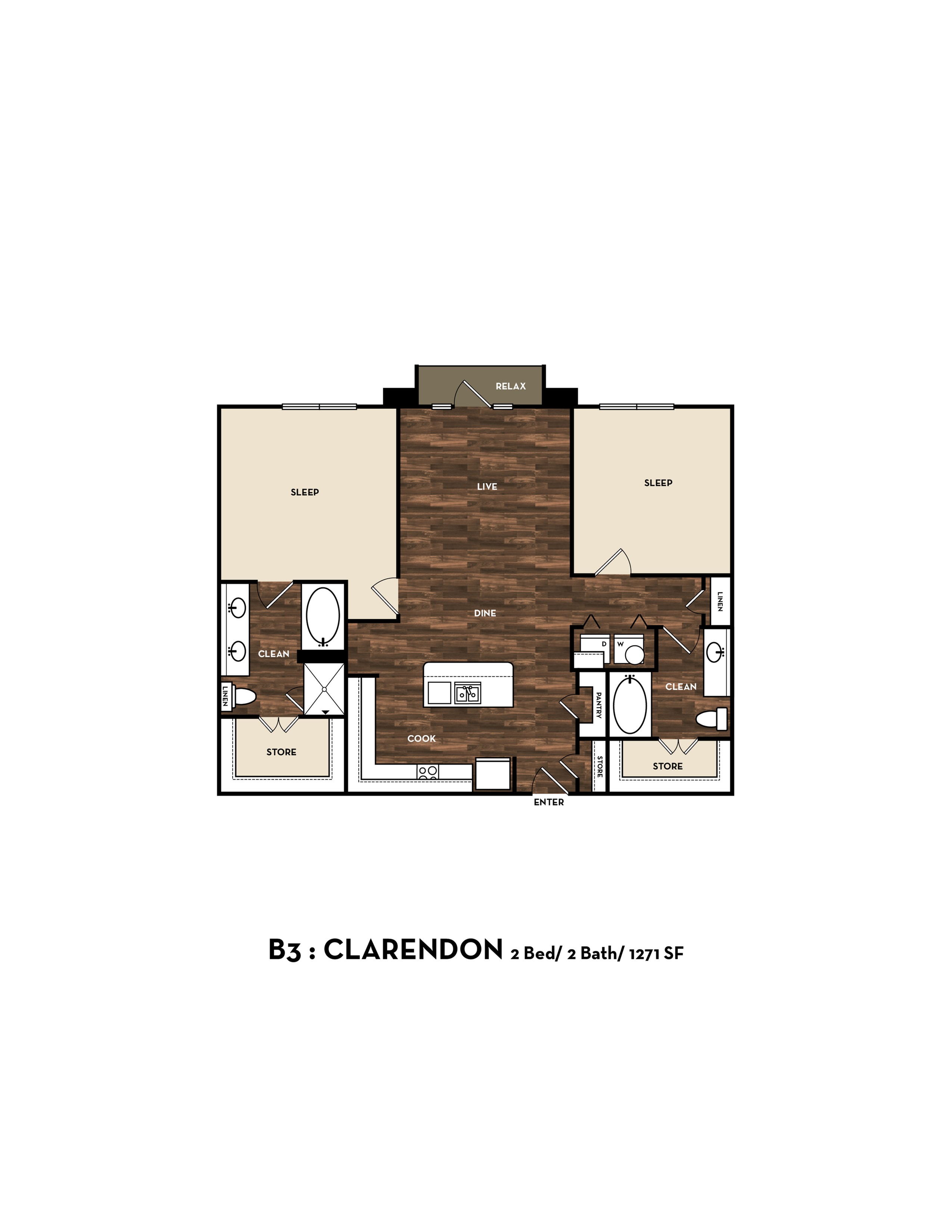 Floor Plan 10 | Luxury Apartments In San Antonio Texas | 1800 Broadway