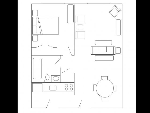 One Bedroom   628 sqft