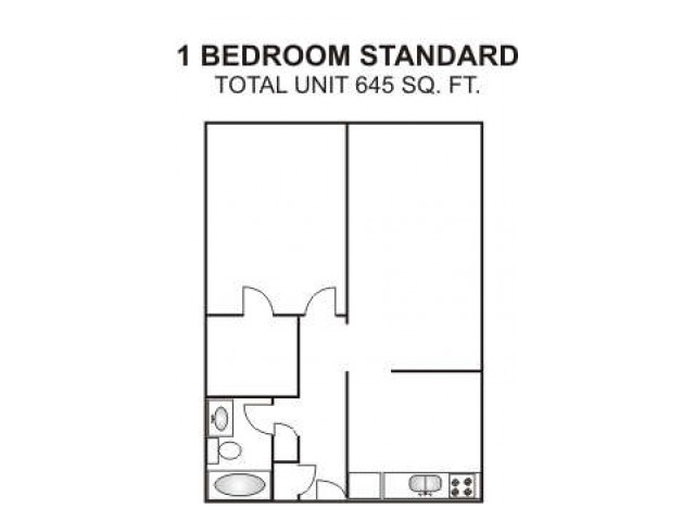 One Bedroom Standard   645 sqft