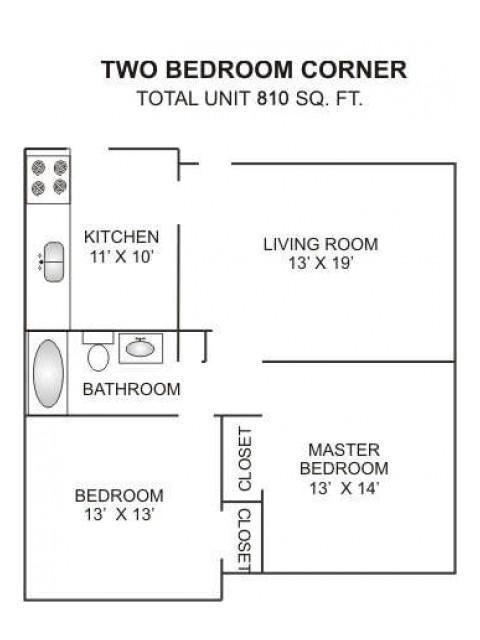 Two Bedroom   One Bathroom   810 sqft