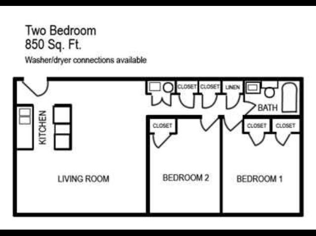 Two Bedroom | One Bathroom | 850 sqft