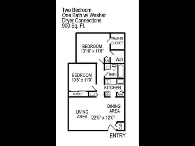 Two Bedroom   One Bathroom   Washer/Dryer Connections   900 sqft