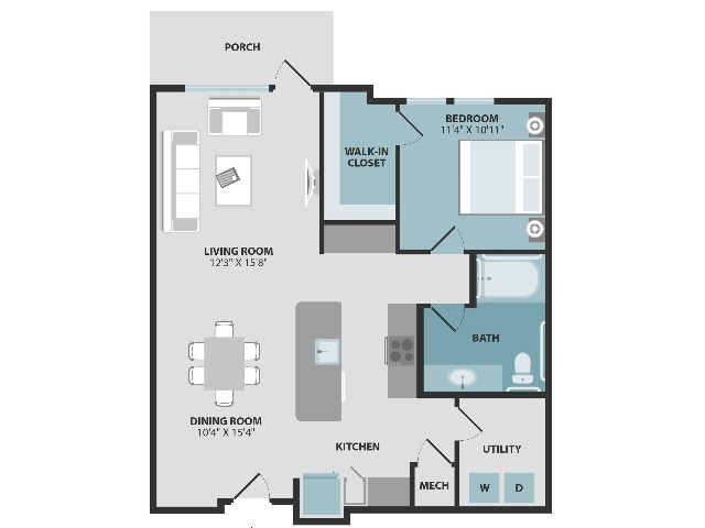 A3 ANSI | One Bedroom | One Bathroom