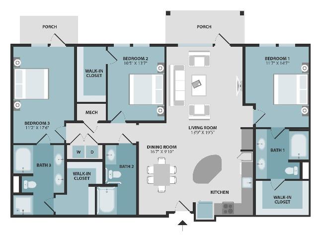C1-ANSI | Three Bedroom | Three Bathroom