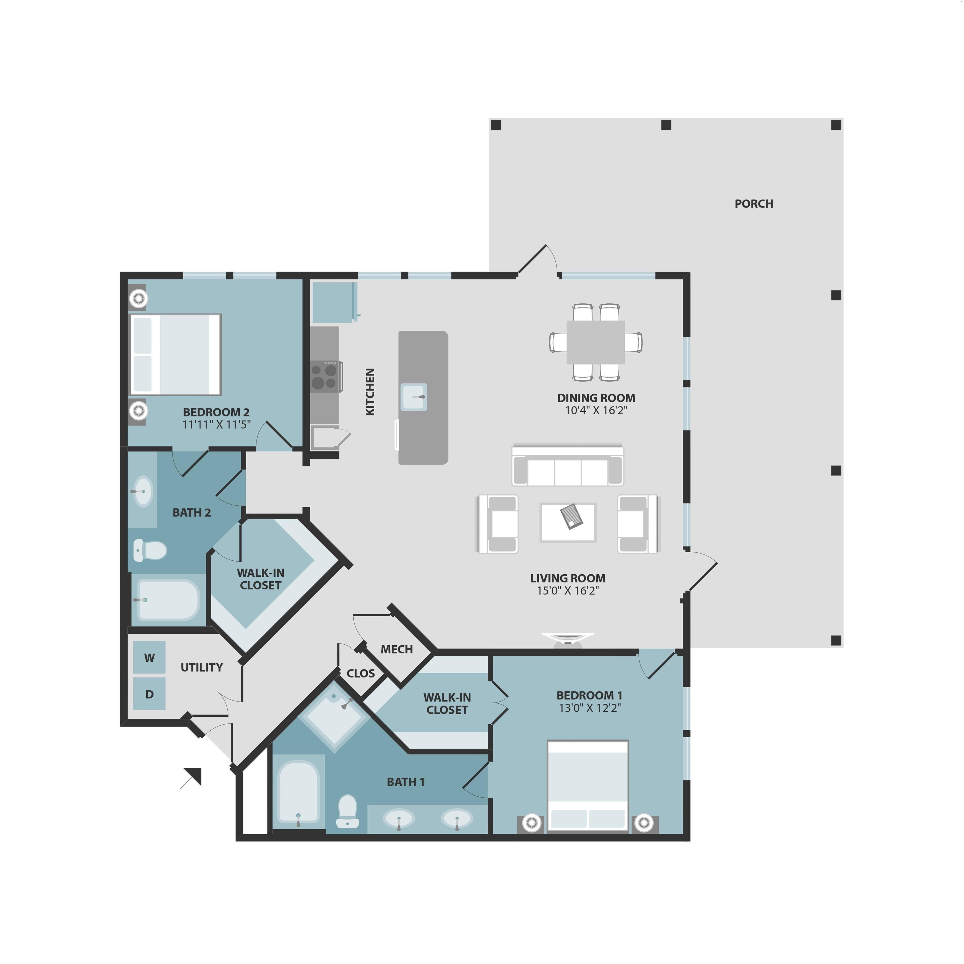 B4 | Two Bedroom | Two Bathroom