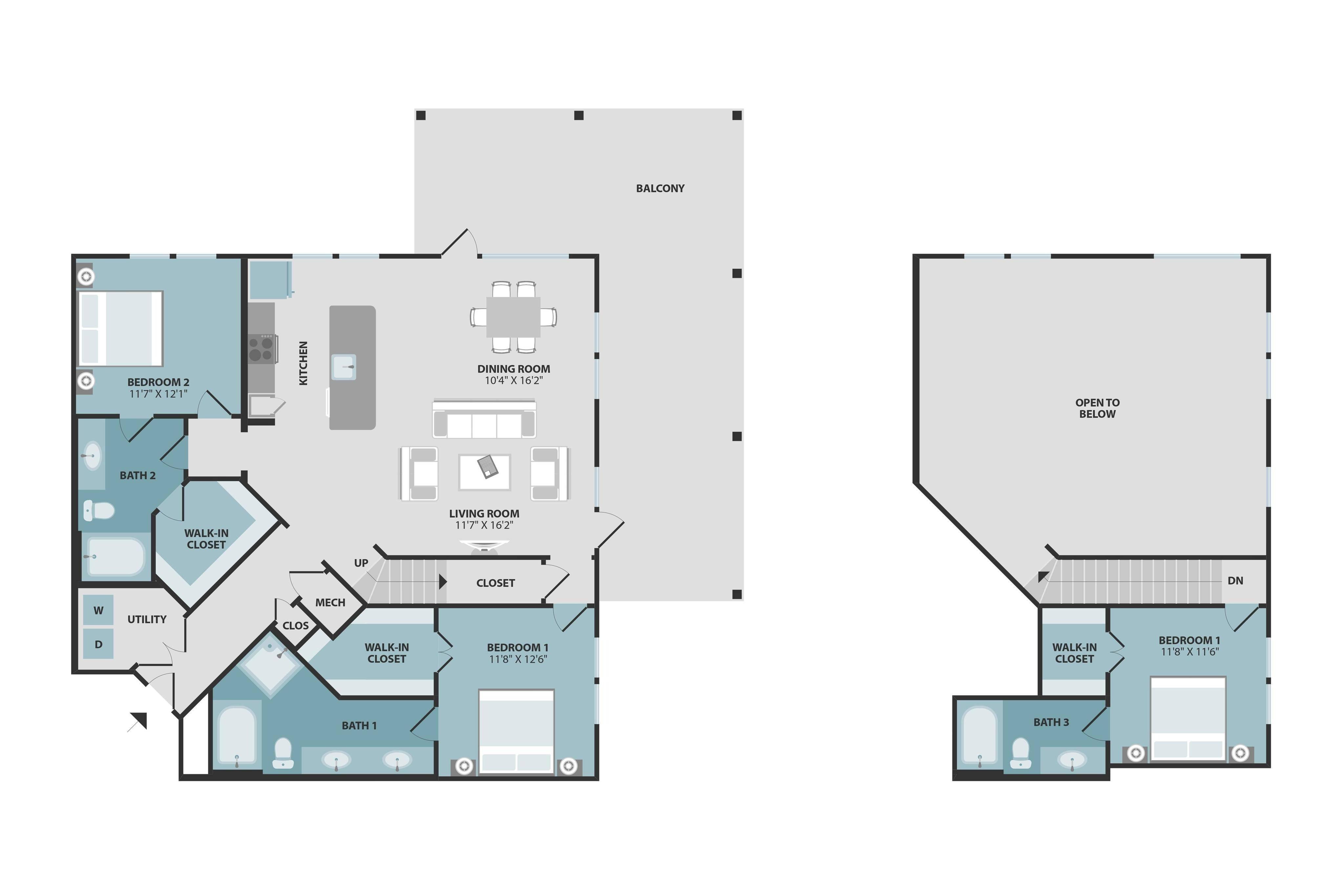 C2 | Three Bedroom | Three Bathroom