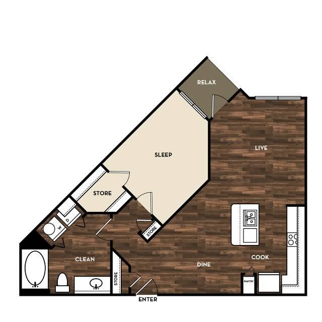 Floor Plan 5 | Apartment For Rent In San Antonio Tx | 1800 Broadway