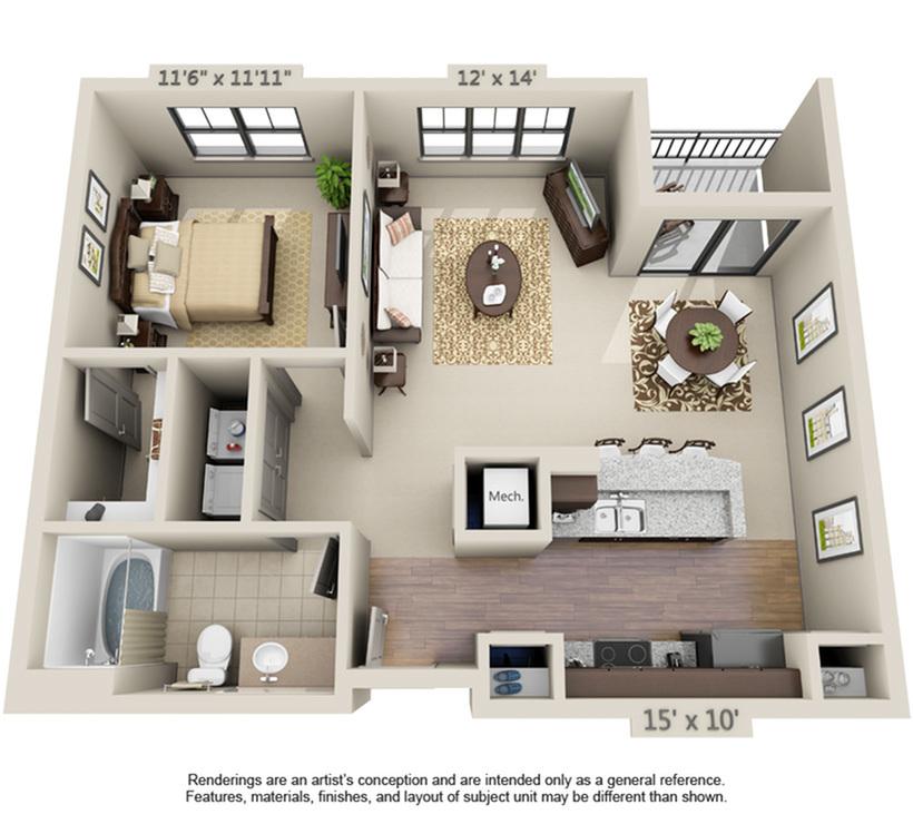 Sanibel | 1 Bedroom | 1 Bath | 747-869 SF