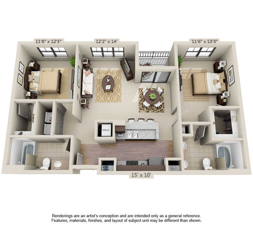 Sebastian | 2 Bedroom | 2 Bath | 1041-1077 SF