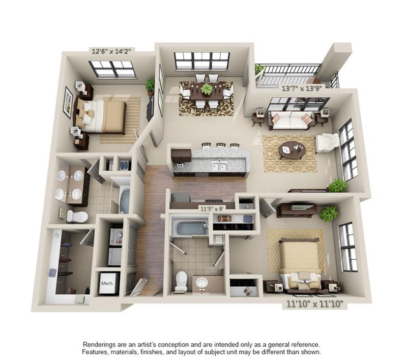 Fountainbleu | 2 Bedroom | 2 Bath | 1153-1319 SF