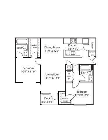 2 Bedroom | 2 Bath | 1064 SF