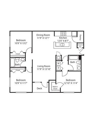 3 Bedroom | 2 Bath | 1240 SF