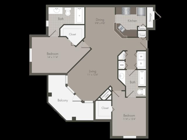 Delano | 2 Bedroom | 2 Bath | 1289 SF