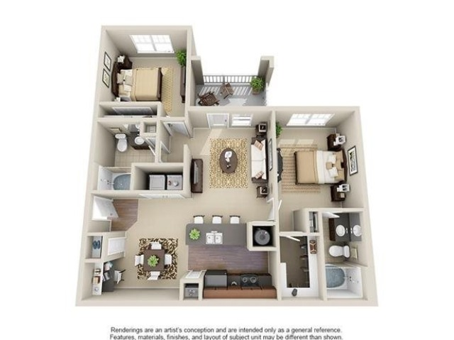 Hartwell | 2 Bedroom | 2 Bath | 1044 SF