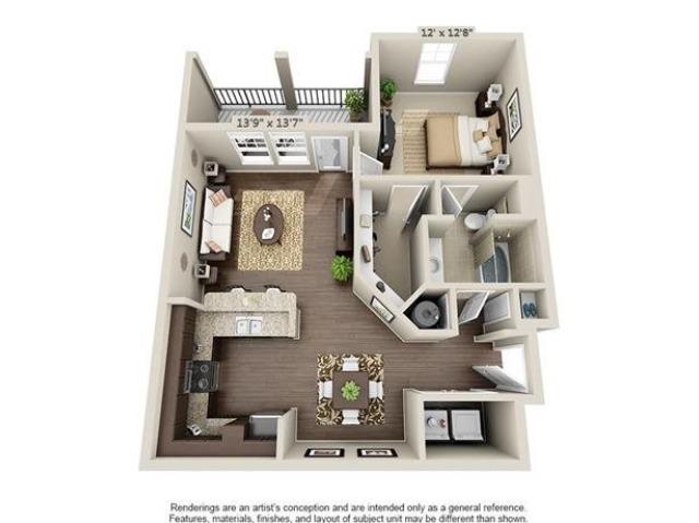 Pierce | 1 Bedroom | 1 Bath | 809 SF