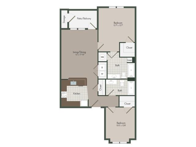 The Boardwalk | 2 Bedroom | 2 Bath | 1042 SF