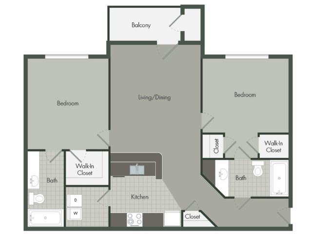 2 Bedroom | 2 Bath | 889 SF