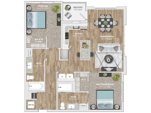 2 Bedroom | 2 Bath | 1106 SF