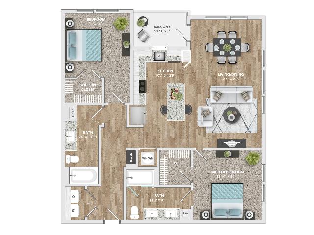 2 Bedroom | 2 Bath | 1215 SF