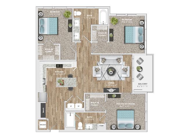 3 Bedroom | 2 Bath | 1341 SF
