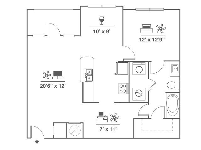 1 Bedroom | Office/Den | 1 Bath | 984 SF