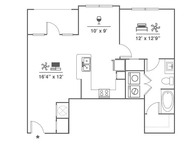 1 Bedroom | 1 Bath | 836 SF