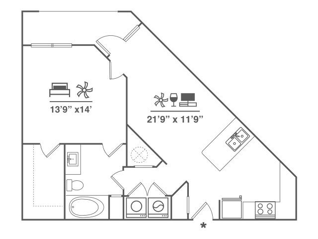 1 Bedroom | 1 Bath | 815 SF