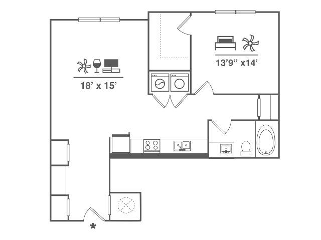 1 Bedroom | 1 Bath | 857 SF