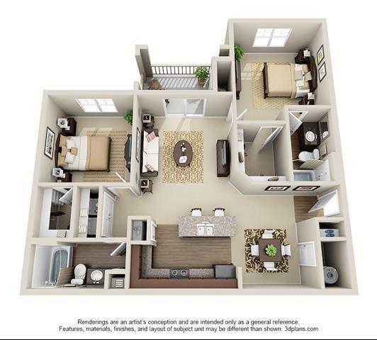 2 Bedroom | 2 Bath | 1093 SF