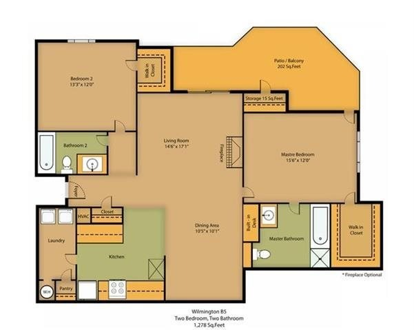 2 Bedroom | 2 Bath | 1278 SF