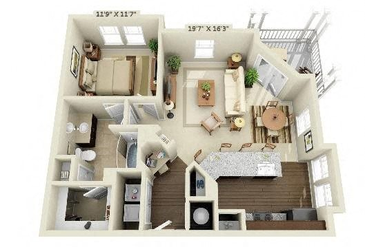 1 Bedroom | 1 Bath | 829 SF