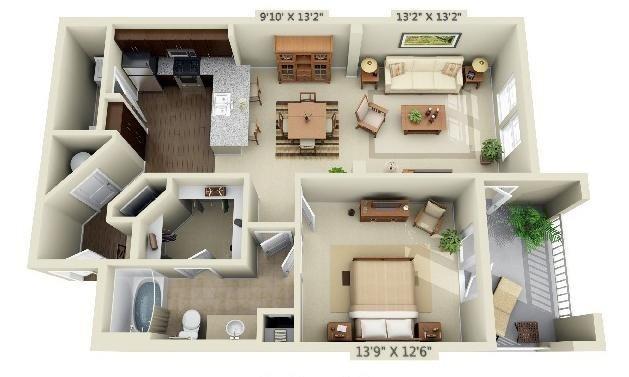 1 Bedroom | 1 Bath | 895 SF