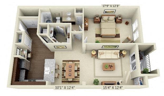 1 Bedroom | 1 Bath | 978 SF