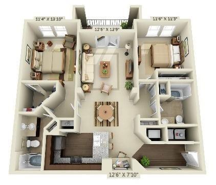 2 Bedroom | 2 Bath | 1125 SF