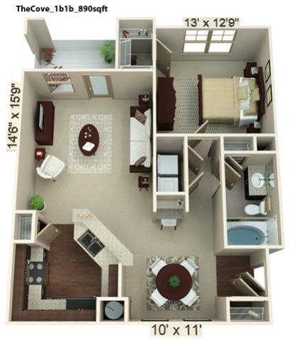 1 Bedroom | 1 Bath | 890 SF