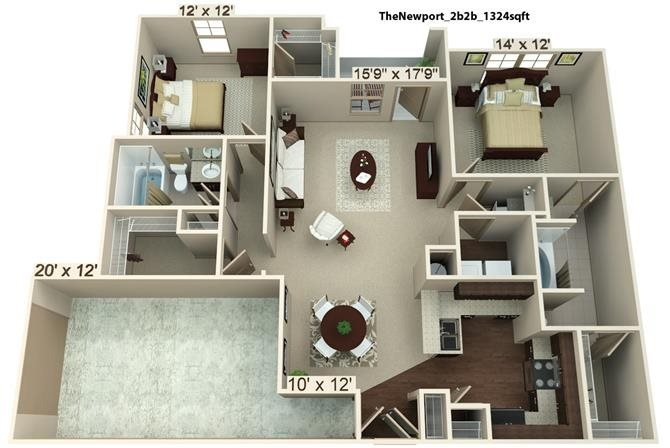 2 Bedroom | 2 Bath | 1324 SF
