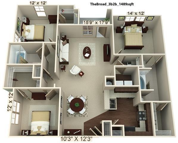 3 Bedroom | 2 Bath | 1489 SF