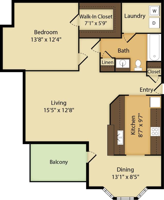 1 Bedroom | 1 Bath | 805 SF