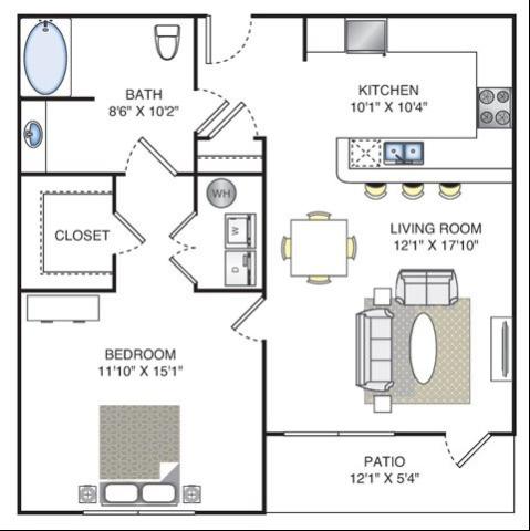 1 Bedroom | 1 Bath | 756 SF